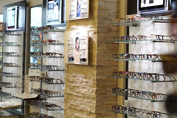 Designer eyewear on the wall