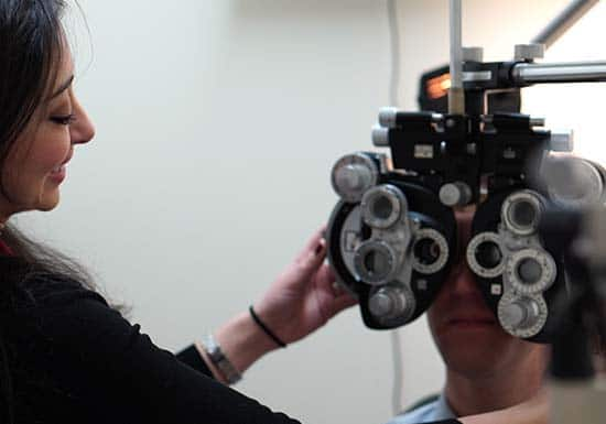 patient receiving eye exam